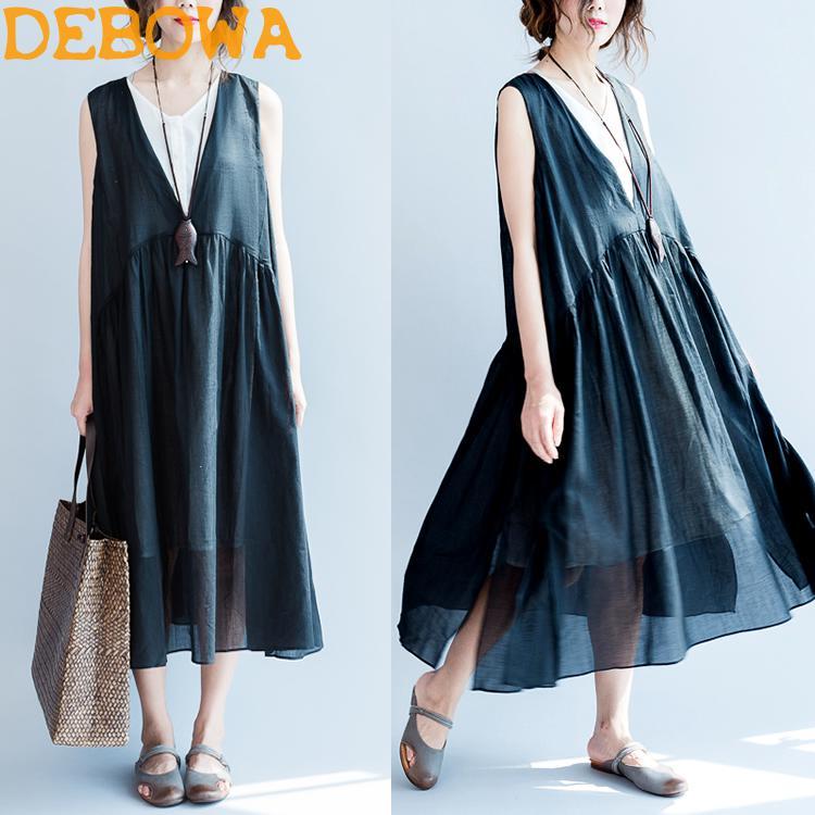 Debowa 2018 New Fashion Women Summer Dress Casual False 2 Pc Tank Drss Black White Patchwork Long Dress Literature And Art