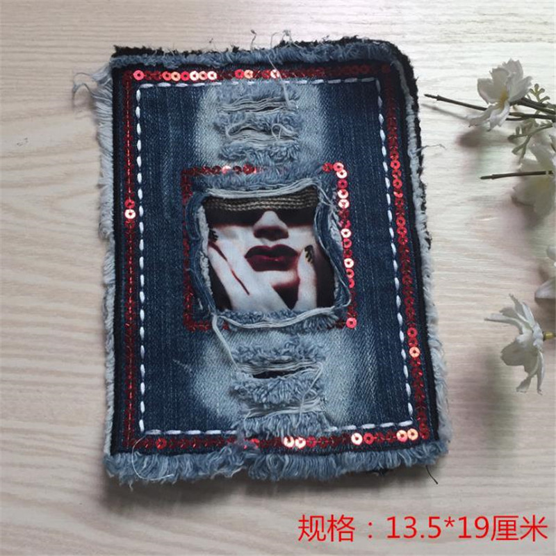 Women boy clothes embroidery denim patch deal with it 25cm girl face iron on patches for clothing t shirt/jeans free shipping