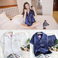 Las mujeres Pijama De Raso para la Primavera Otoño Homewear Pijamas de Seda de Satén ropa de Dormir de Las Mujeres Pijamas de Seda del Faux de Impresión Tops + shorts