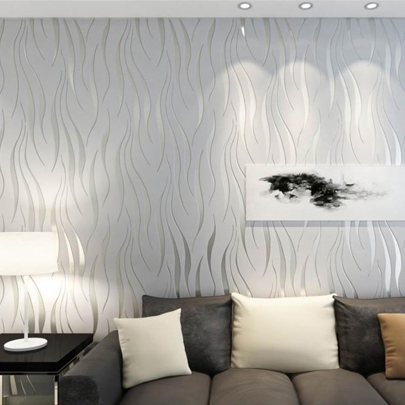 Modern Stripes Geometric 3D Wallpaper Roll For Bedroom Living Room Home Decor Relief Grey Stripe WallPaper TV Sofa Background