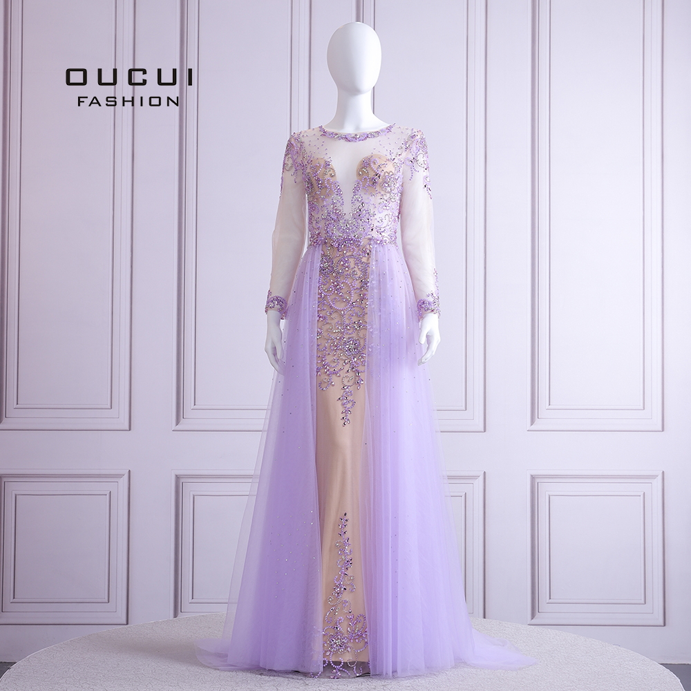 2019 Elegant Lilac Evening Dress Long Sleeve V Neck Sexy Illusion Beaded Crystal  Court Train Robe De Soiree Plus Size OL103090BEvening Dresses   -