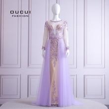 2019 Elegant Lilac Evening Dress Long Sleeve V Neck Sexy Illusion Beaded Crystal  Court Train Robe De Soiree Plus Size OL103090B