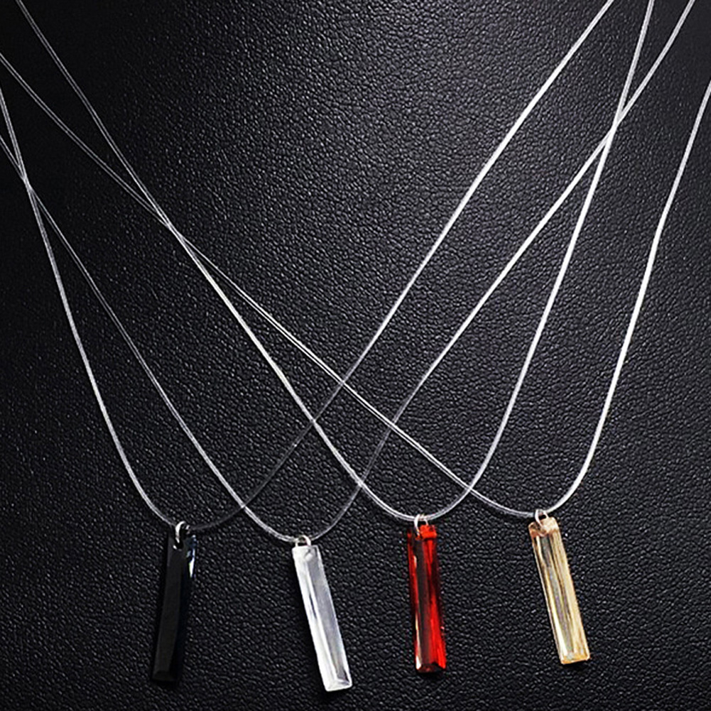4 Style Invisible Necklace Fishing Line Crystal Long Bar Pendant Necklace New special Design Womens Necklace collier file peche