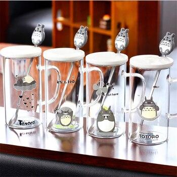 Kaffeetassen Mit Deckel | Nette Totoro Becher Schöne Kaffee Becher Mit Edelstahl Löffel Umweltfreundliche Glas Kaffee Tasse Mit Keramik Deckel Mädchen Freund Geschenk