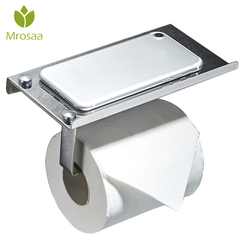 1Pcs Kitchen 304 Stainless Steel Toilet Paper Holder with Mobile Phone Shelf Wall Mounted Bathroom Tissue Roll Paper Rack Hanger 1pcs wall mounted stainless steel bathroom towel shelf holder adhesive force bathroom shelf pendant toilet roll paper hanging