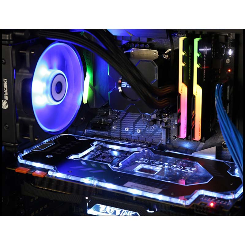 Amiable Bykski Integrated Cpu Water Block Fan Kit For Amd Intel Square Water Coole And Air Cooled Easy To Install Modular Fastener Excellent Quality In