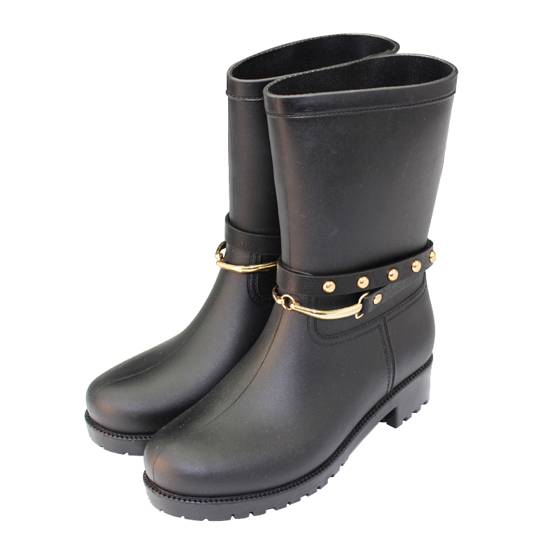 Round Toe Women Boots Rain Shoes Mid-calf Female Waterproof Rainboots Rubber Shoes Kawaihae Brand Martins 707X genuine leather wedges sweet round toe pure color martins ladies boots chains mid calf gum rubber outsole insole increase