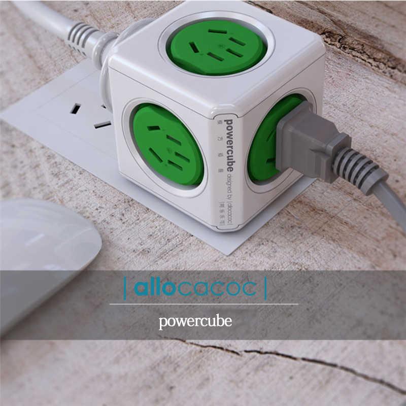Allocacoc powercube listwa zasilająca adapter do australii podróży CN AU wtyczka elektryczna inteligentne gniazdo przedłużacz elektryczny wielu wtyczka