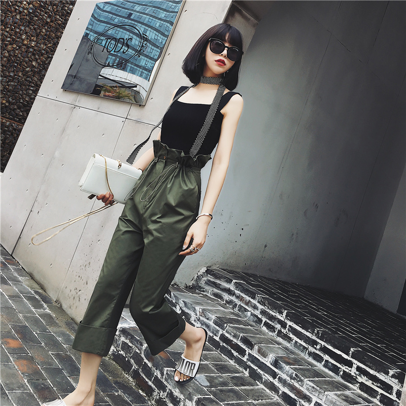 Spring womens high waist casual straight harem pants loose cardigan trousers sweat pants ...