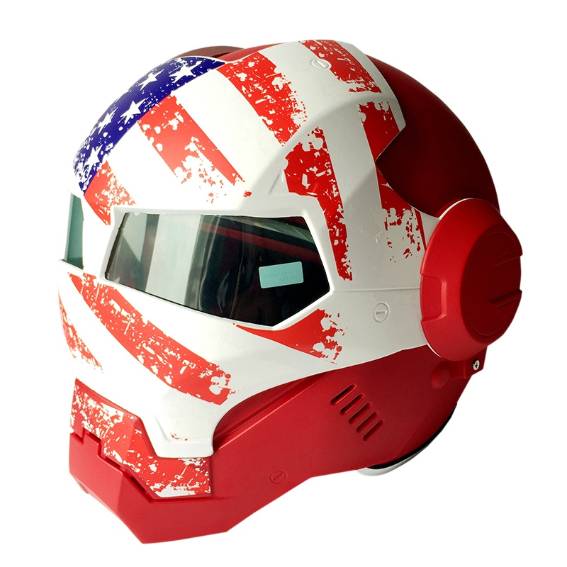 (1pc) The Newest 100% Original USA Flag Masei 610 Ironman Helmets Motorcycle Skull Open Face Helmet Casco Capacete