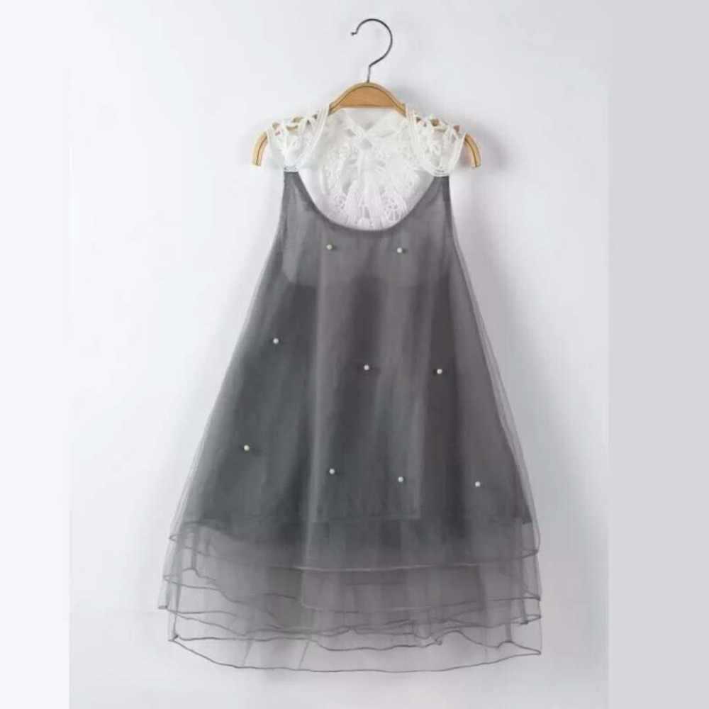 Vestito delle ragazze di 1-10 anni di estate della perla di colore rosa grigio multi-strato di tulle della maglia del fiore del merletto di estate del tutu del bambino vestiti della ragazza della principessa vestiti