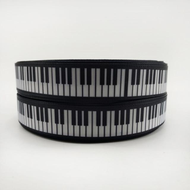 7/8 ''(22mm) פסנתר מפתחות באיכות גבוהה מודפס פוליאסטר סרט 5 מטרים, DIY בעבודת יד חומרים, חתונה מתנה לעטוף, 5Y52184