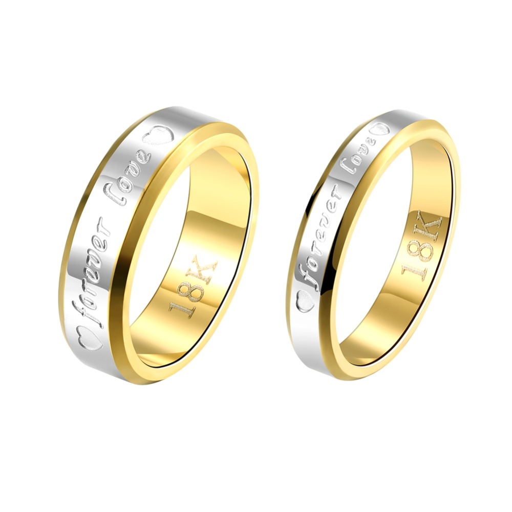 Hot Sales Stainless Steel Golden Wedding Lovers Ring Stamped forever Love Fashion Jewelry For Men And Women Couples Rings S119