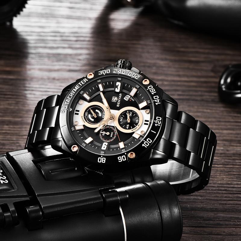 Image 4 - BENYAR Quartz Mens Watches Top Brand Luxury Watch Man Steel Waterproof Sport Mens Wristwatch Chronograph Relogio Masculino 2019-in Quartz Watches from Watches