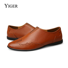 YIGER 2018 New Man Loafers Casual shoes Driving Shoes Genuine Leather Slip-on Leisure Peas soft Free shipping 0114