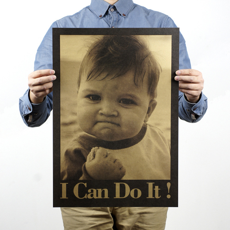 Child I Can Do It Nostalgic Vintage Kraft Paper Movie Poster Home School Office Cafe Bar Decoration Retro Posters And Prints