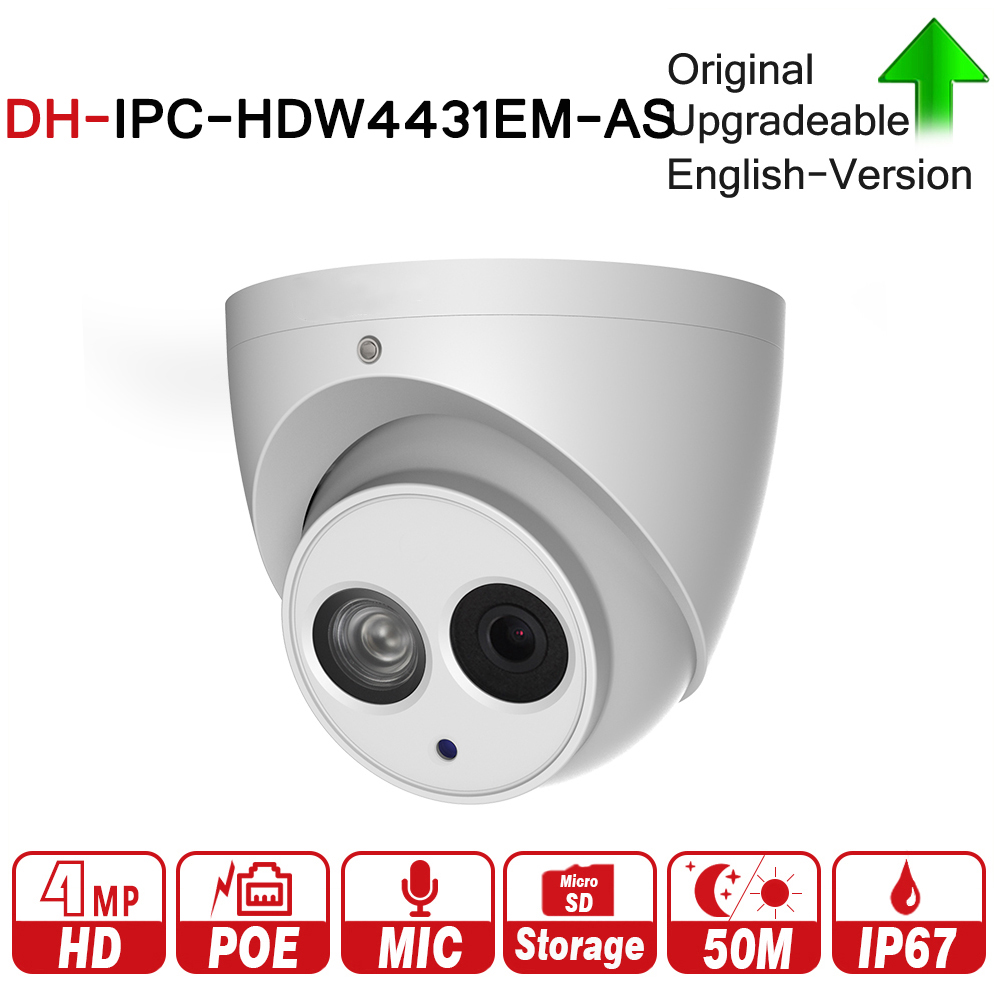 DH IPC-HDW4431EM-AS avec logo original 4MP Globe Oculaire Réseau IP Caméra Micro Intégré 50 m IR Micro Sd Carte Détecter IP67 h265 WDR PoE +