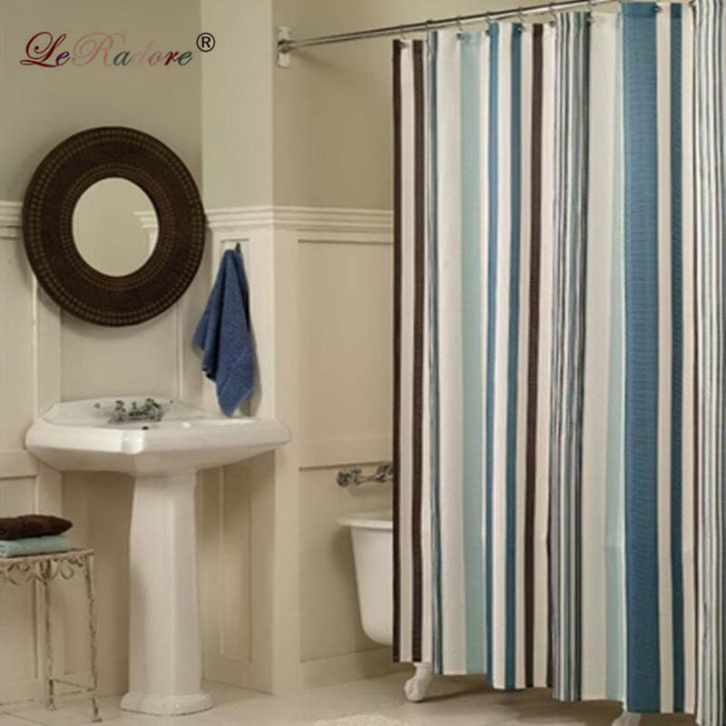 LeRadore Mediterranean Style Waterproof Shower Curtain Home Bathroom Curtains with Hooks Polyester Fabric Bath Curtain Free Ship
