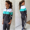 2017 Sports Suit Women Two Piece Set Tracksuit Zipper Cardigan Long Sleeve Uniform Survetement Femme Jogging Trainingspak