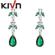 KIVN Fashion Jewelry Luxury Blue Pave CZ Cubic Zirconia Wedding Bridal Earrings for Womens Girls Birthday Christmas Gifts