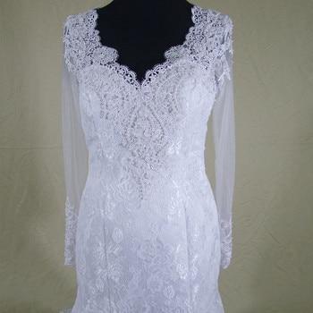 QQ Lover 2019 Long Sleeves Vestido De Noiva Pearls Beaded Mermaid Lace See Through Back Bridal Gown Wedding Dress