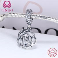 Aliexpress 100 925 Sterling Silver White Rose Beads Fit Original Pandora Charms Bracelet Authentic Luxury DIY
