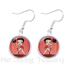 2018 New Sexy And Lovely Betty Boop Pattern Drop Earrings Charm Dangle Earrings Glass Dome Handmade Jewelry For Women(China)