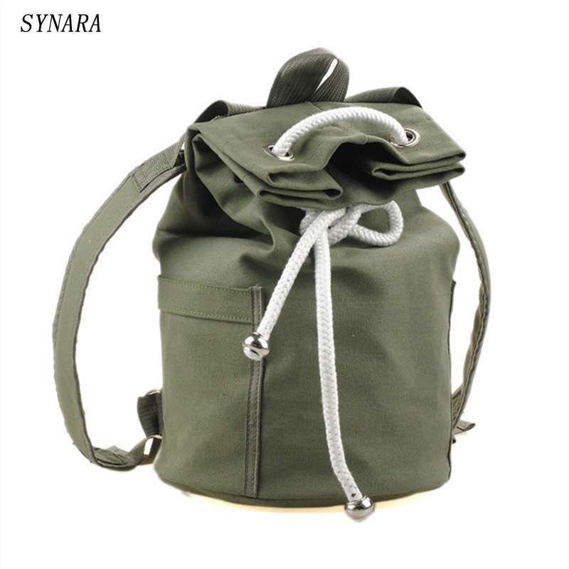 New large capacity men drawstring backpack canvas bucket bag unisex Fashionable concise Backpacks bags