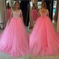 Розовое Бальное вечернее платье с бисером длиной до пола, свадебное платье