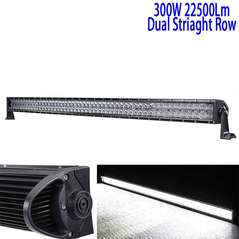 52Inch 300W 5D Led Driving Light Bar Led Work Light Bar Straight Roof Offroad Truck Suv Atv Utv Boat 4wd 6000k White Combo 12v auxbeam 44 576w cree chip led head light bar 6000k offroad work light for atv utv suv rzr pickup boat car driving led bar 3 row
