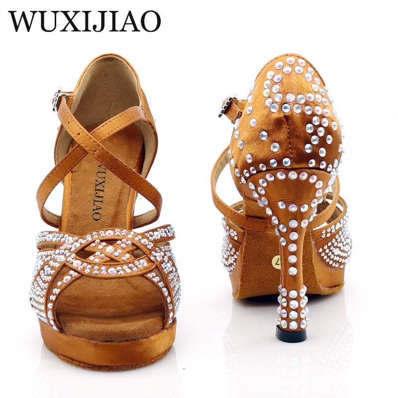 WUXIJIAO New Women Waterproof Platform Satin Latin Dance Shoes Rhinestone Salsa Ballroom Dance Shoes Colors Bronze