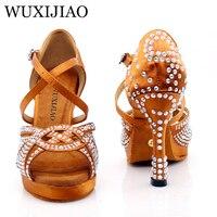 WUXIJIAO New Women Waterproof platform Satin Latin Dance Shoes Rhinestone Salsa Ballroom Dance Shoes Colors bronze