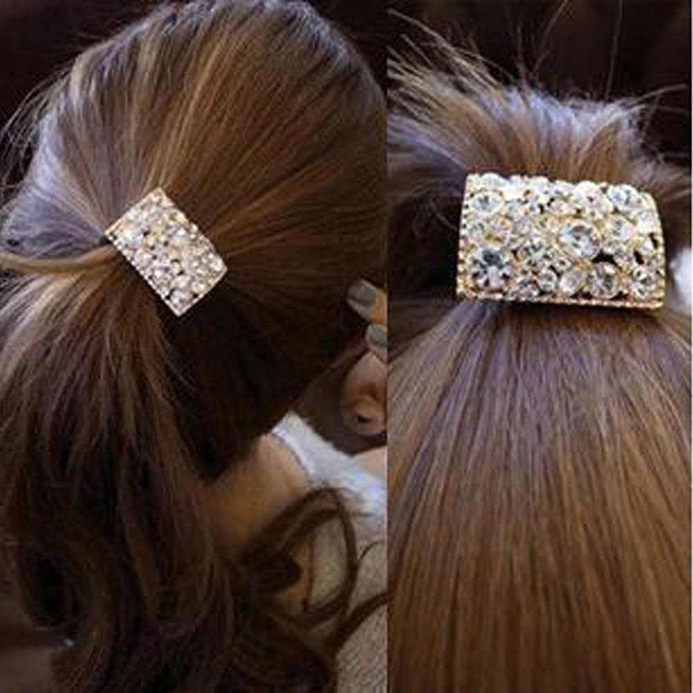 Luxury Crystal Rhinestone Hair Accessories Square Diamond Elastic Hair Bands Seamless Hair Rope Ties Chic Women Rubber Bands