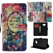 LUCKBUY Flip PU Leather Cover Case For Samsung Galaxy S8 S9 Plus S8Plus S9Plus 3D Printed Dreamcatcher Wallet for Note 9