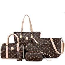 JOOZ Brand Luxury Stars Printing Female Bag PU Leather 6 Pcs Set Women Shoulder Crossbody Bags Lady Handbag Purse Clutch Wallet