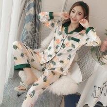Women Silk Pajamas Set Long Sleeve Sleepwear Pijama Pyjama Suit Female Sleep Two Piece Loungewear roupa de noite das mulheres