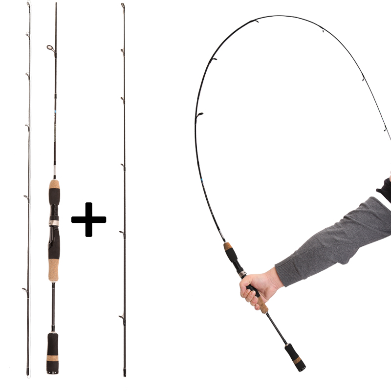 Spinpoler UL Fishing Rod 1-7g Test Slow Action 1.8m(602) Spinning Carbon Rod Solid 2Tip Fishing Rod Ultra Light and L