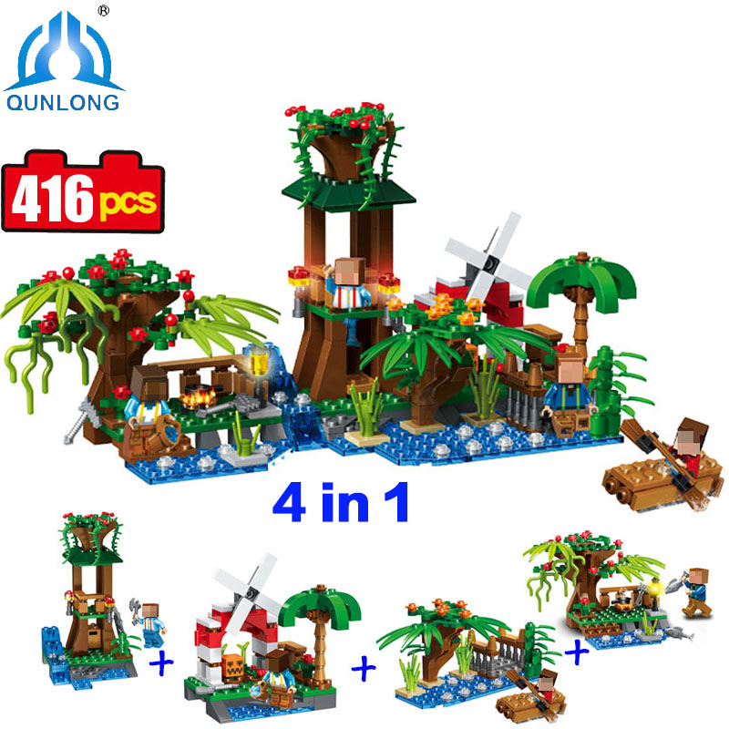 Minecraft 4 in 1 Village Building Blocks Figures Set Educational Toy For Children Christmas Gift Compatible Legoe Minecraft City the new jjrc1001 lepin city construction series building blocks diy christmas gift for kid legoe city winter christmas hut toy