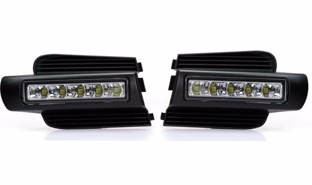 2xLED DRL front fog lamp daytime running lights for Toyota prado 120 Land cruiser LC120 FJ120 2003~2009 newest led daytime running light for toyota prado 120 lc120 grj120 2003 2009 fog lamp drl bumper light accessories parts