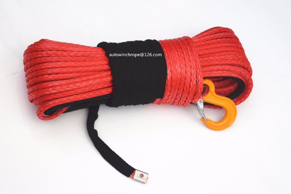 Red 10mm*45m Rope for ATV Electric Winch,Synthetic Winch Rope,ATV Winch Cable,4x4s Off Road Parts,Spectra Rope-in Towing Ropes from Automobiles & Motorcycles