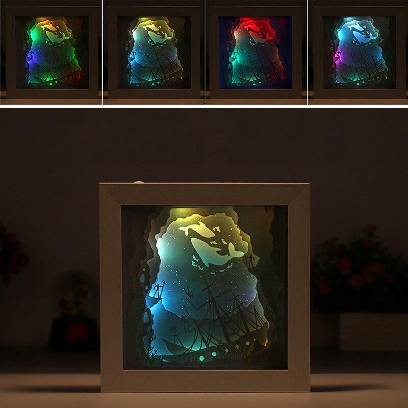 Papercut Light Box LED USB Night Light Lamp Creative Paintings Giraffe House papercut light box led usb night light