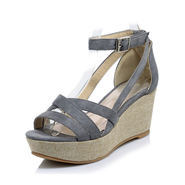 4c7cb7f3d78c7c Hemp 7cm High Heel Summer Women Sandals with Platform Fashion Ankle-Wrap Solid  Color Comfortable Women Summer Shoes