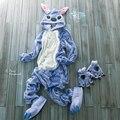 Flanela Animal azul / rosa ponto macacão adulto Unisex Cosplay pijama All In One partido pijamas para mulheres dos homens adultos