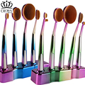 5pcs Soft multipurpose Golf Oval Rainbow Makeup Brushes Set Foundation Powder blusher Blending Cosmetic Brush with stand
