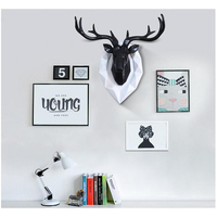 Home Statue Decoration Accessories Furnishing Wood Resin Deer Head Craft Home Hanging Pendant Bar Mural Deer Living Room Wall