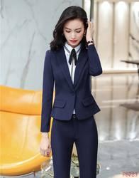 Новинка 2018, Формальные женские брючные костюмы для женщин, рабочие костюмы, черный блейзер и пиджак, комплект, элегантная Деловая одежда