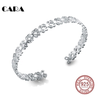 CARA New Ladies Fashion 925 Sterling Silver Bangle Bracelet Hollow Out 4 Leaf Clover Bangle Jewelry