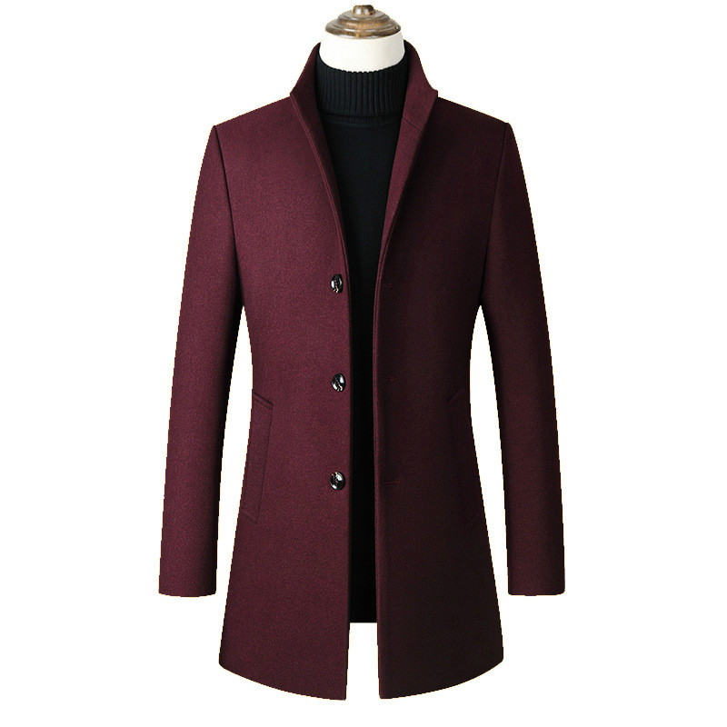 Casual Wine Red Wool Coat Male Men Winter Windbreaker Jacket Long Mens Overcoat Plus Size 3xl 4xl Stand Collar Slim Trench Coat