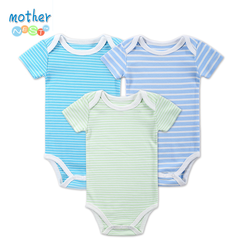 2016 Newly 3 Pcs/lot Baby Bodysuit Girls and Boys Summer Baby Girls Clothing Short Sleeves Sleepwear Newborn Unisex Baby Clothes