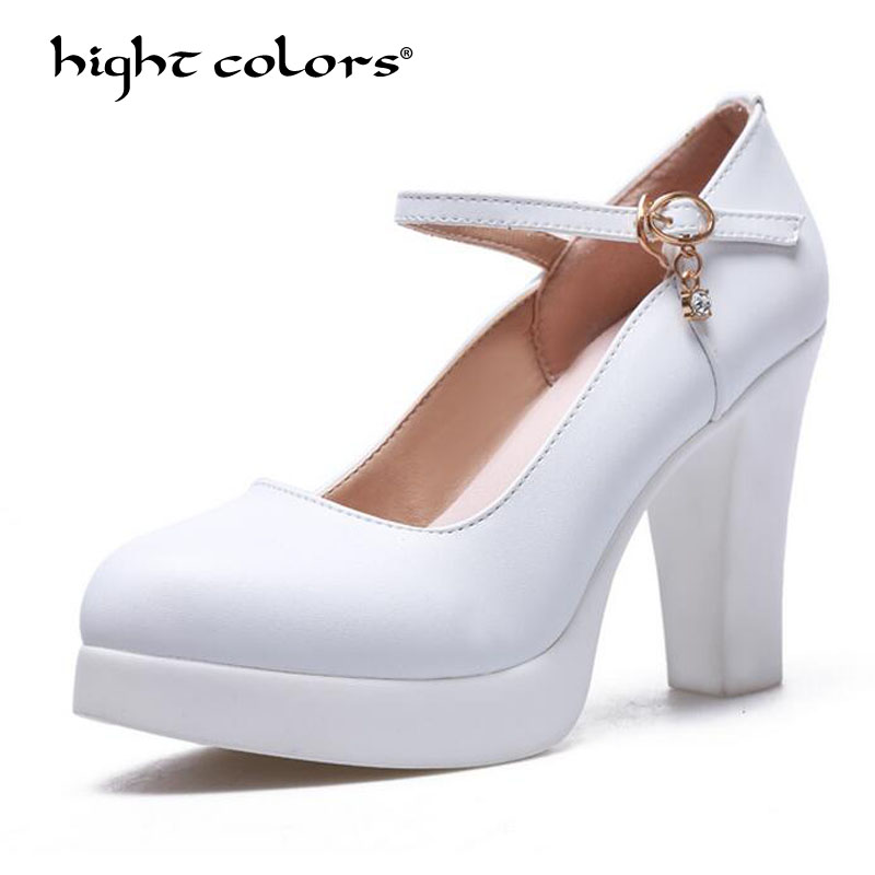 White Women Shoes Mary Jane Ladies High Heels White Wedding Shoes Spring Thick Heel Pumps Shoes Black Pink Plus Size 31~43 luxury brand crystal patent leather sandals women high heels thick heel women shoes with heels wedding shoes ladies silver pumps